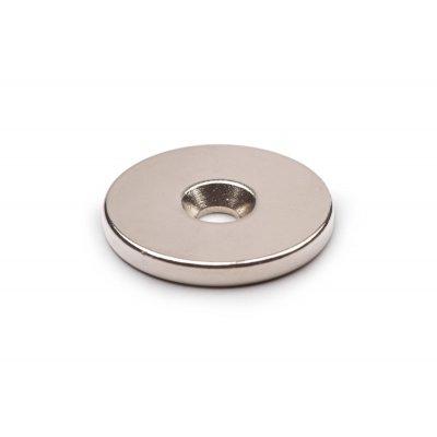 Неодимовый магнит 25х3 мм отверстие 4,5-7,5 мм