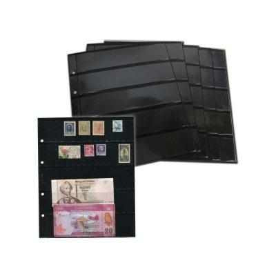Лист двухсторонний для бон и марок на черной основе 200х250мм на 5 ячеек размером 48х184мм
