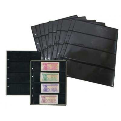 Лист двухсторонний для бон и марок на черной основе 200х250мм на 4 ячейки размером 180х56мм