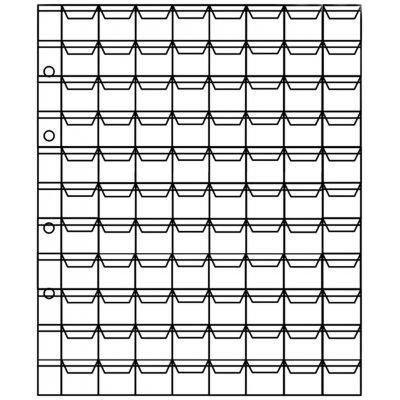Лист для монет 200х250мм на 88 ячеек размером 20х18мм